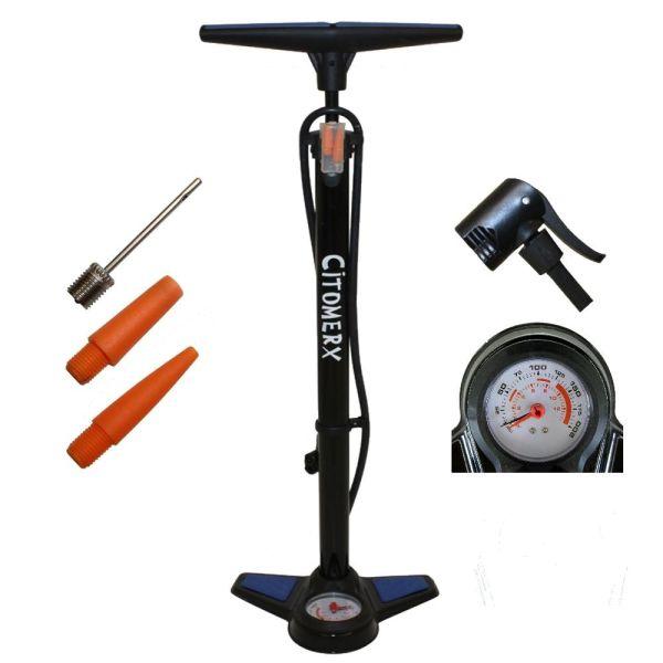 CMX Fahrrad Hochdruck Luftpumpe 12Bar Standpumpe mit Manometer für alle Ventile (164790)