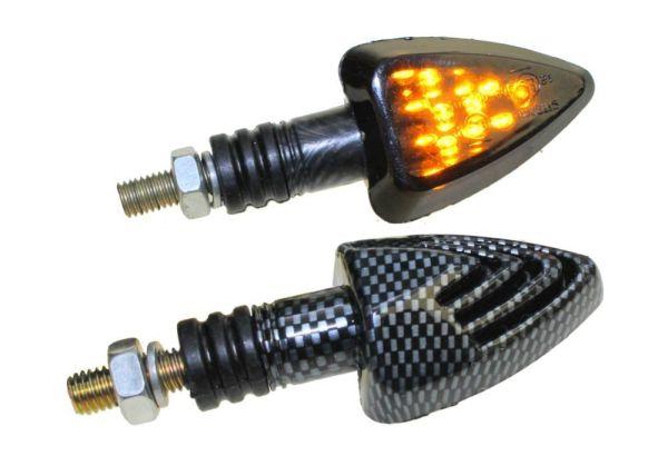 Motorrad Mini Blinker LED Jake carbon getönt E-geprüft (163679)