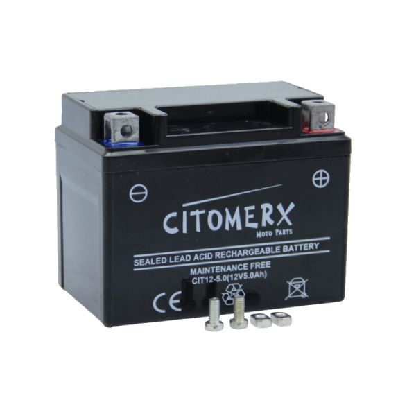 Batterie, Rollerbatterie Gel-Batterie 12V 5AH YB4L-B, YTX4L-BS, YT4L-B für 50ccm Roller (127540)